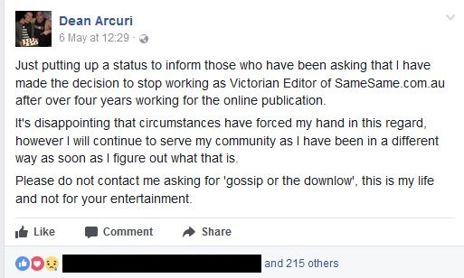 Dean Arcuri Comments on Facebook about Evo Media_BlackOut