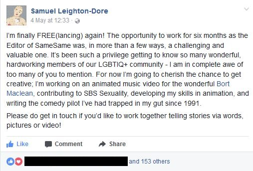 Sam Leighton-Dore Facebook comments about being free